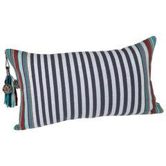 Handwoven Fine Cotton Sm Pillow Grey Stripes with Multi-Color Trim & Tassel