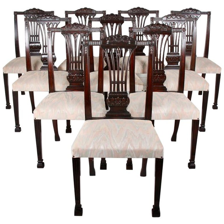 Set of Ten Carved Mahogany Dining Chairs