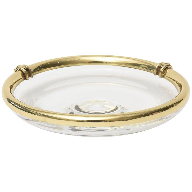 Modern Glass and Brass Lipped Sculptural Bowl