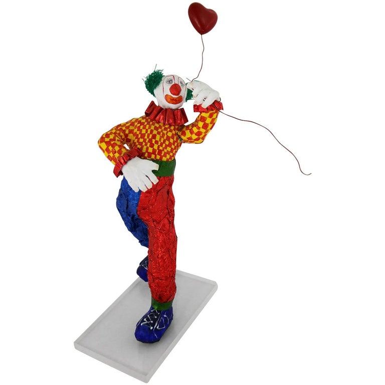 Fun Bright Mixed-Media Folk Art Clown Sculpture with Balloon Paper Maché