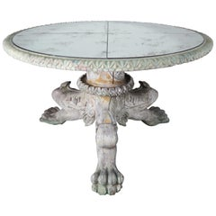 Italian Style Painted Lion Paw Tripod Table with Mirrored Top