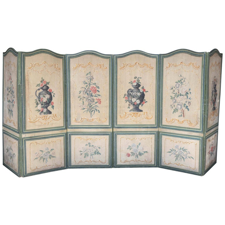 French 19th Century Six-Panel Painted Canvas Screen