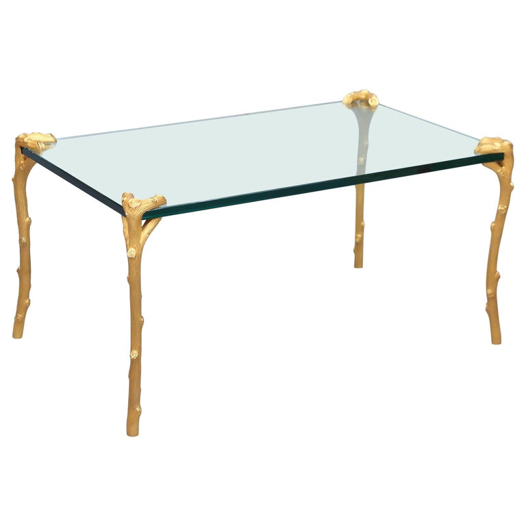 """P.E. Guerin """"Faux Bois"""" Gold-Plated Brass Cocktail Table"""