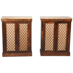 Pair of Grille-Front Rosewood Regency Cabinets with Marble Tops