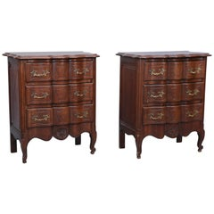 Pair of Vintage Small Louis XV-Style Oak 3-Drawer Chests