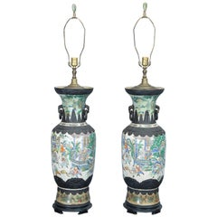 Pair of Qing Dynasty Famille Verte Tall Vases Converted to Lamps
