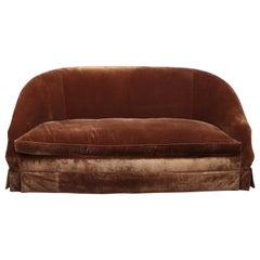 Chocolate Brown Silk Velvet Custom with Skirt Sofa