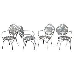"Set of 4 Francois Carre Art Deco ""Sunburst"" Metal Dining Chairs"