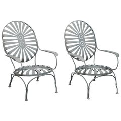 "Pair of Rare Francois Carre Vintage ""Sunburst"" Art Deco Lounge Chairs"