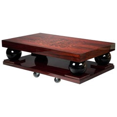 French Art Deco Coffee Table in Macassar