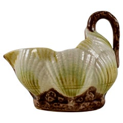 19th Century Aesthetic Movement English Majolica Sea Shell Form Creamer