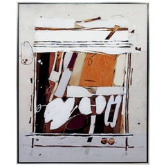 Mid-Century Modern Ray Frost Fleming Abstract Acrylic on Canvas Painting Orange