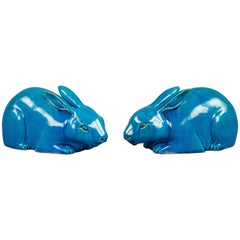 Pair of Chinese Porcelain Turquoise Glazed Rabbits, circa 1860