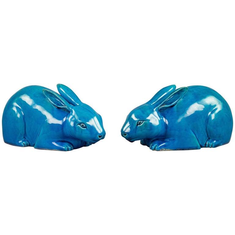 Pair of Chinese Porcelain Turquoise Glazed Rabbits, circa 1860