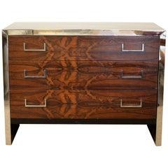 Mid-Century Modern Milo Baughman John Stuart Rosewood Chrome Chest Dresser 1960s