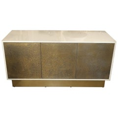 Lacquered Cabinet with Brass Textured Doors