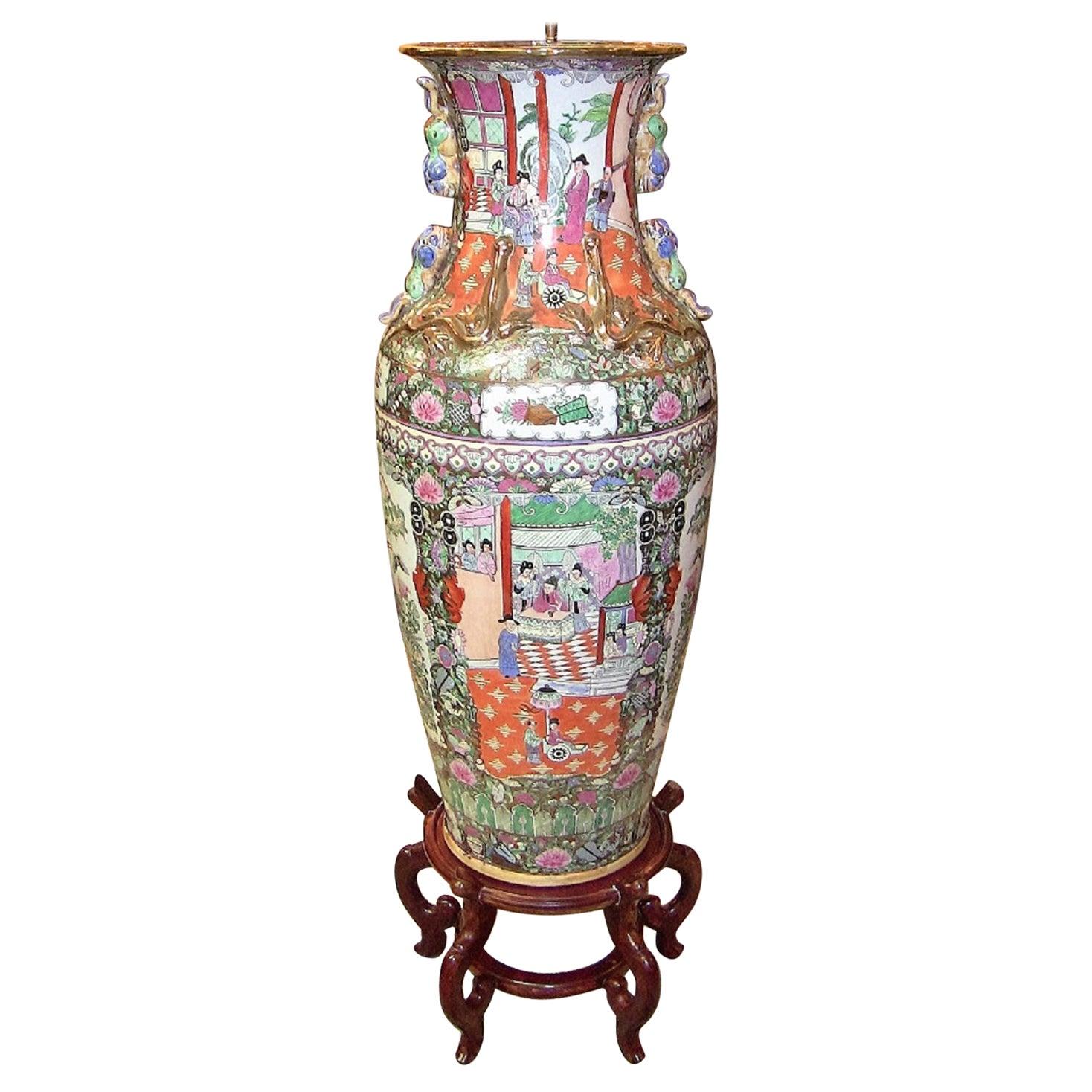 20th Century Chinese Cantonese Rose Medallion Famille Rose Gilded Floor Vase