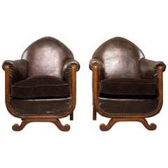 All Original French Art Deco Leather Club Chairs with Velvet Cushions