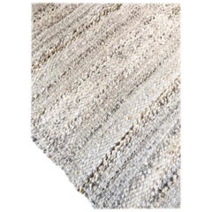 Handwoven Natural Wool Rug, Organic Modern Textured Style, in Stock