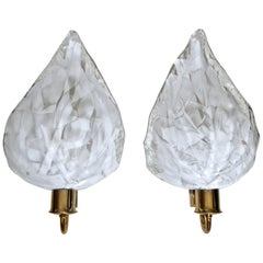 Pair of La Murrina Murano White and Clear Glass Leaf Wall Sconces