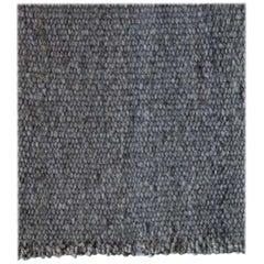 Handwoven Dark Grey Wool Rug, Organic Modern Textured Style, in Stock