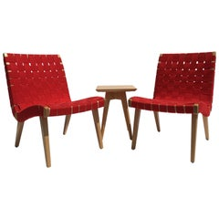 Pair of Original Jens Risom Lounge Chairs with Side Table by Knoll