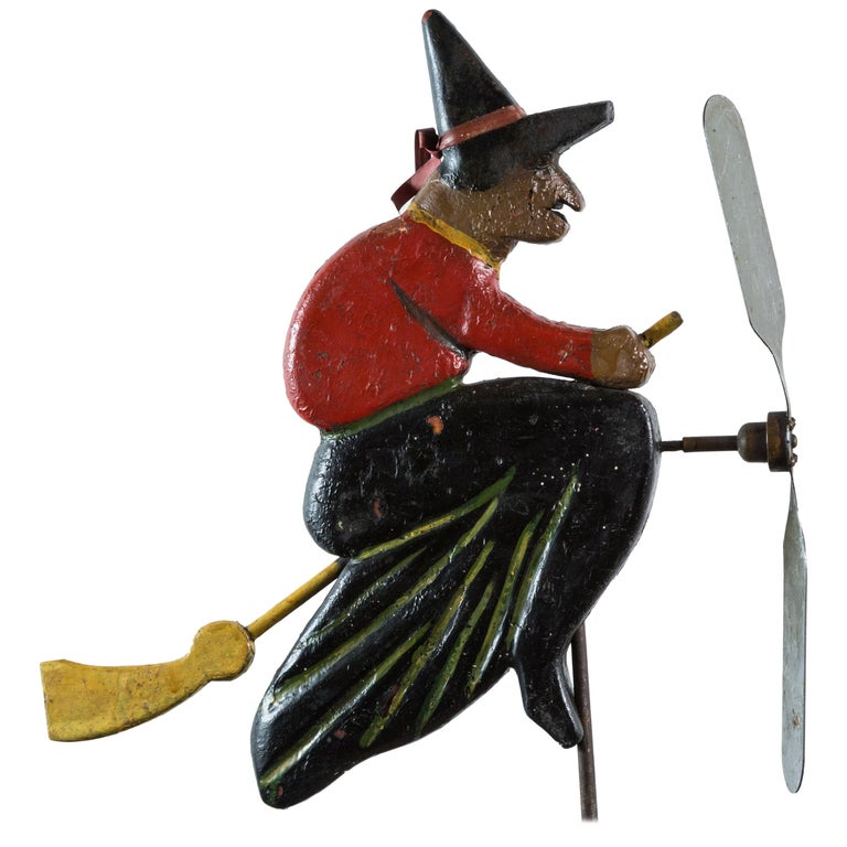 Folk Art Hand-Carved Wood Witch Weathervane For Sale
