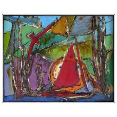 Mid-Century Modern Heavy Impasto Mixed-Media Abstract Painting with a Sail Boat