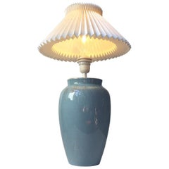 Vintage Danish Turquoise Ceramic Table Lamp from Vitrika & Junge, 1970s