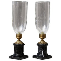Pair of French Hurricane Candle Lamps with Brass and Marble Base