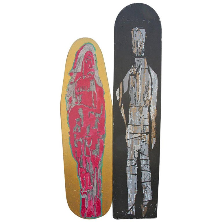 Two Painted Wood Ironing Boards by Woodstock Graffiti Artist Michael Heinrich For Sale