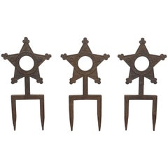 Collection of Three Cast Iron Star Victorian Daughters of the Revolution Markers