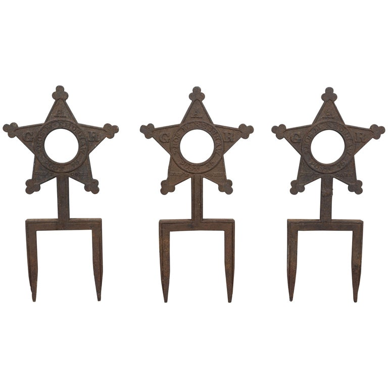Collection of Three Cast Iron Star Victorian Daughters of the Revolution Markers For Sale