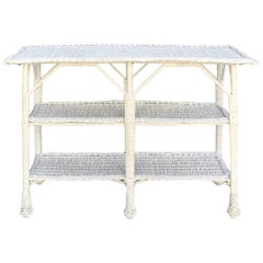 Antique Wicker Table with Three Shelves