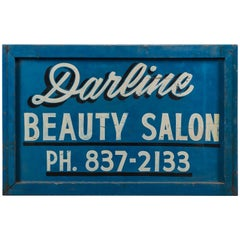 Vintage Hand-Painted Folk Art Beauty Salon Blue Trade Sign, circa 1950s