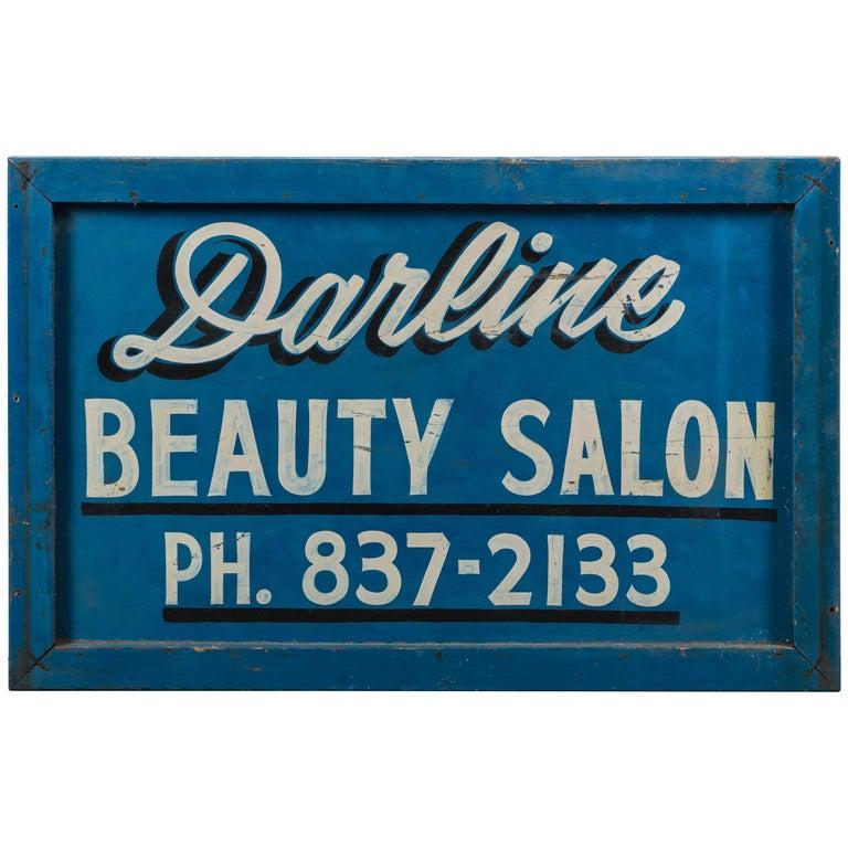 Vintage Hand-Painted Folk Art Beauty Salon Blue Trade Sign, circa 1950s