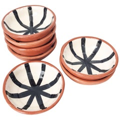 Handmade Ceramic Small Bowl with Graphic Black and White Design, in Stock