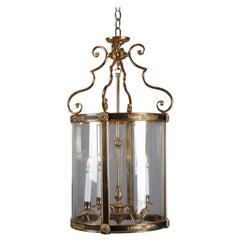 English Regency Ebonized Bronze & Bent Glass 4-Candle Pendant Light 20th Century