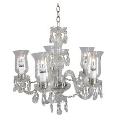 Vintage French Crystal and Chrome 5-Light Chandelier with Cut Glass Shades