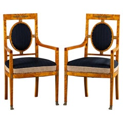 Pair of Vintage French Empire Revival Birchwood Chairs Original Upholstery