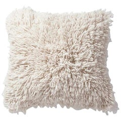 Handwoven Modern Organic Wool Throw Pillow in Ivory, in Stock