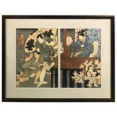 Utagawa Kunisada 'Toyokuni III' Japanese Diptych Woodblock Print
