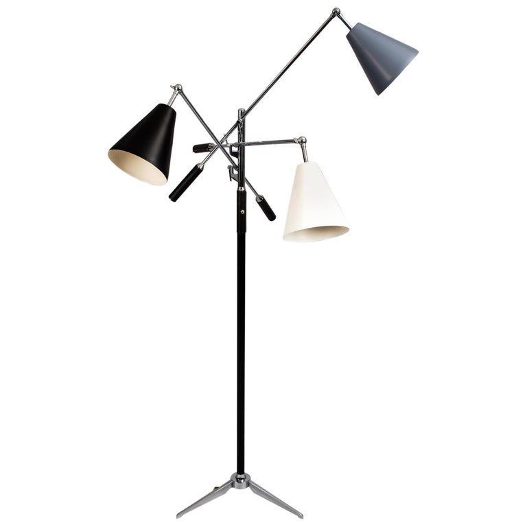 Arredoluce Triennale Lamp ITSO Angelo Lelii in Black, White and Grey Italy 1960s