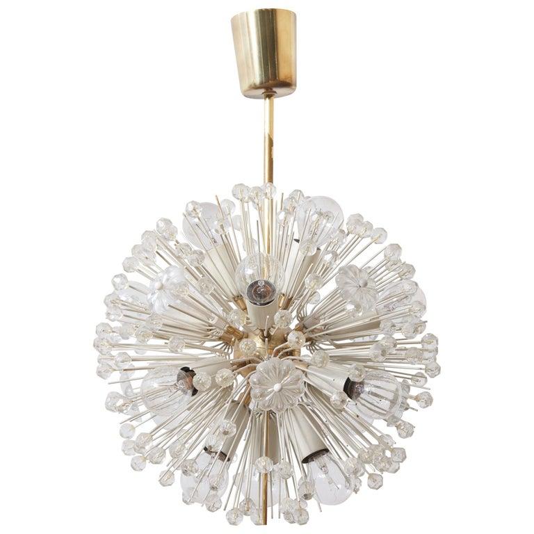 Sputnik Glass Flower Chandelier by Emil Stejnar for Rupert Nikoll, 1950s
