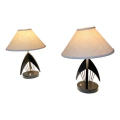 Sophisticated Atomic Table Lamps Black Mahogany Fine Brass Rods Style Raak 1950s