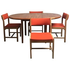 1970s Midcentury Danish Table and Six Danish Børge Mogensen Dining Chairs