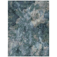Serenity Lake Contemporary Art Hand-Knotted Wool and Silk 9x12 Rug