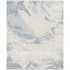 Multani Clay Contemporary Art Hand-Knotted Wool and Silk 9x12 Rug