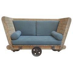 1920s Pine and Metal Wheels Trolley in Reupholstered in Sofa