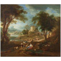 Landscape, Giuseppe Bison 18th Century Oil on Canvas Landscape Painting